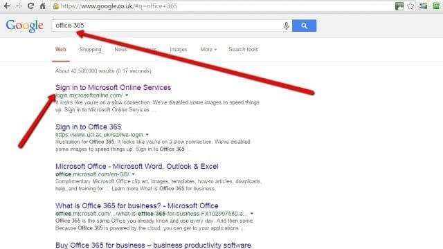 Search google for login to Office 365