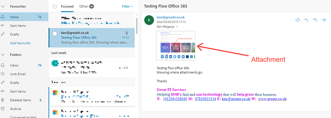 Flow Test Email with attachment