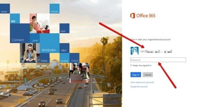 Login with your credentials to Office 365